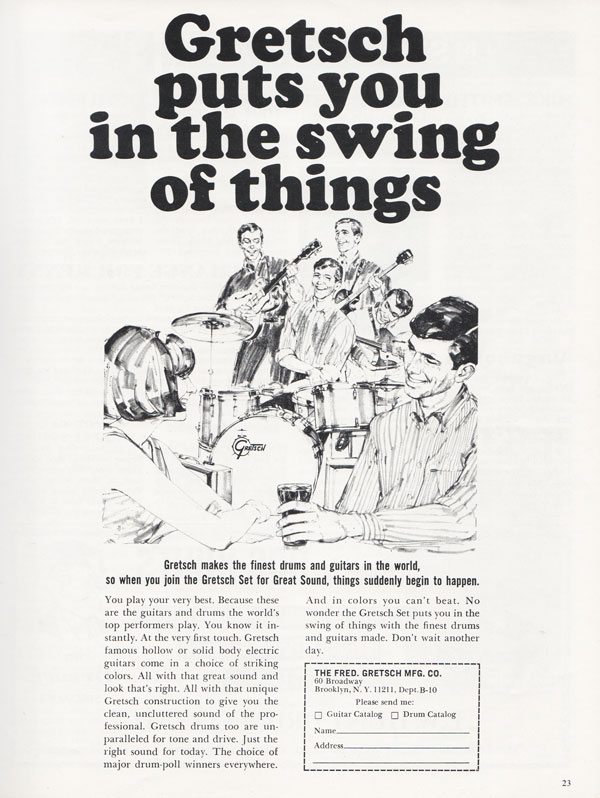 Gretsch advertisement (1966) Gretsch Puts You in the Swing of Things