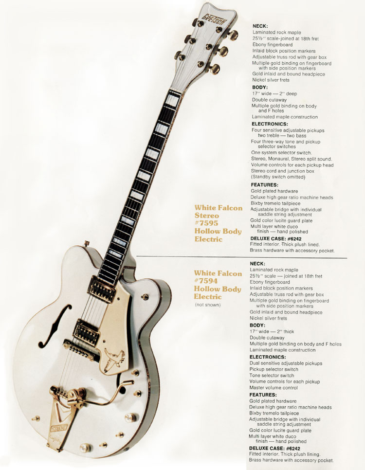 1979 Gretsch guitar and bass catalogue page 2, the Gretsch White Falcon