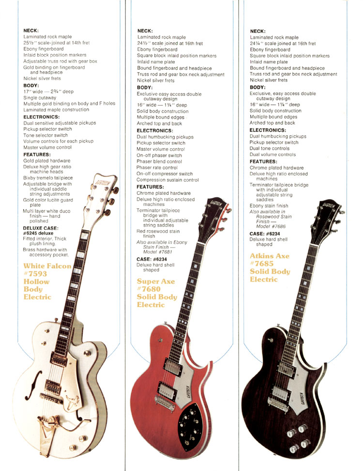 1979 Gretsch guitar catalog page 2, the Gretsch White Falcon, Super Axe and Atkins Axe