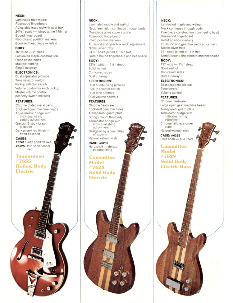 1979 Gretsch guitar catalog page 4 - details of the Gretsch Tennessean, Committee and Committee bass