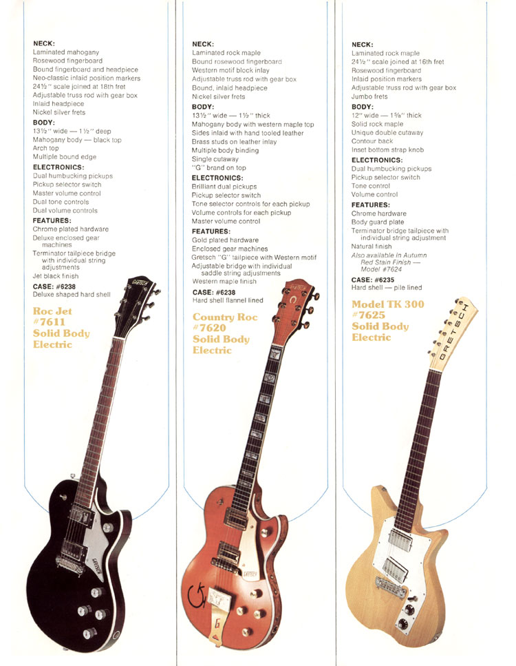 1979 Gretsch guitar catalog page 5 - details of the Gretsch Roc Jet 7611, Country Roc 7620 and TK 300 7625