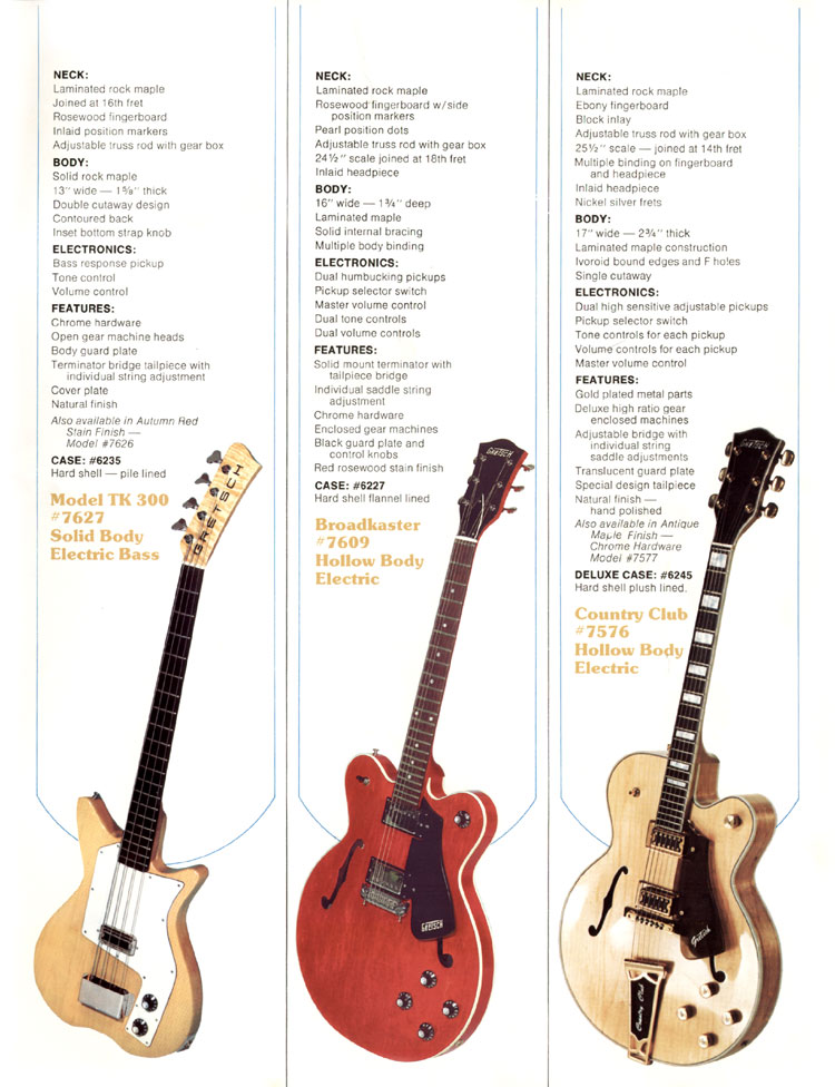 1979 Gretsch guitar catalog page 6 - details of the TK 300 Bass, Broadcaster and Country Club guitars