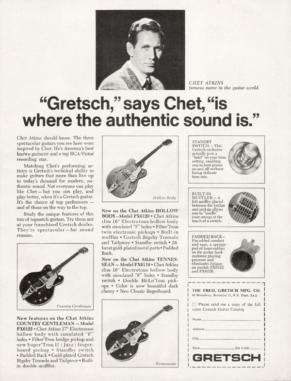 "Gretsch advertisement (1966) ""Gretsch"", Says Chet, ""Is Where The Authentic Sound Is."""