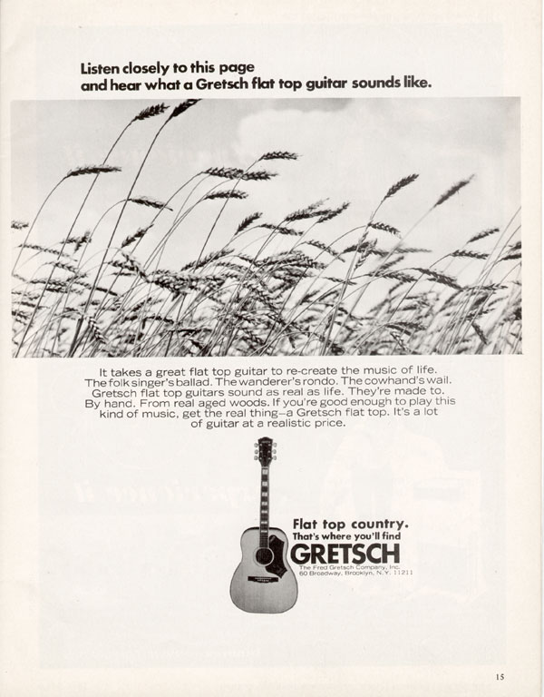 Gretsch advertisement (1969) Listen Closely to this Page and Hear what a Gretsch Flat Top Guitar Sounds Like