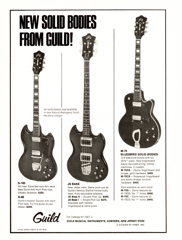 Guild advertisement (1971) New Solid Bodies From Guild