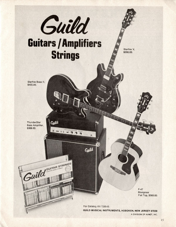 Guild advertisement (1970) Guitars Amplifiers Strings