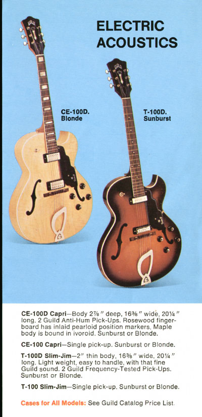 1969 Guild catalogue page 5 - CE-100D Capri and T-100D Slim Jim