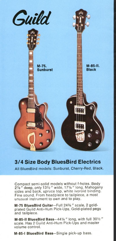 1969 Guild catalogue page 5 - M-75, M-85-I and M-85-II