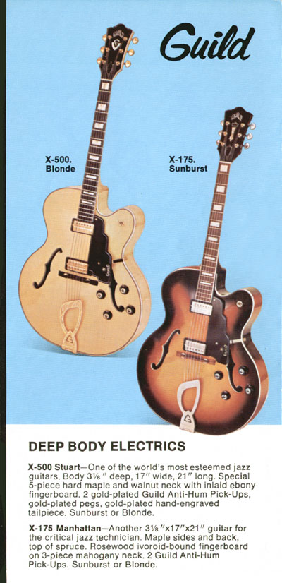 1969 Guild catalogue page 5 - X-175 Manhattan and X-500 Stuart