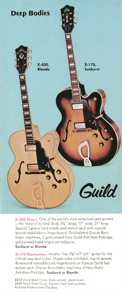 1970 Guild catalogue page 5 - X-175 Manhattan and X-500 Stuart