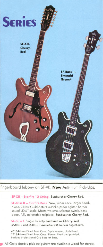 1970 Guild catalogue page 4 - SF-XII, SF-bass-I and SF-bass-II