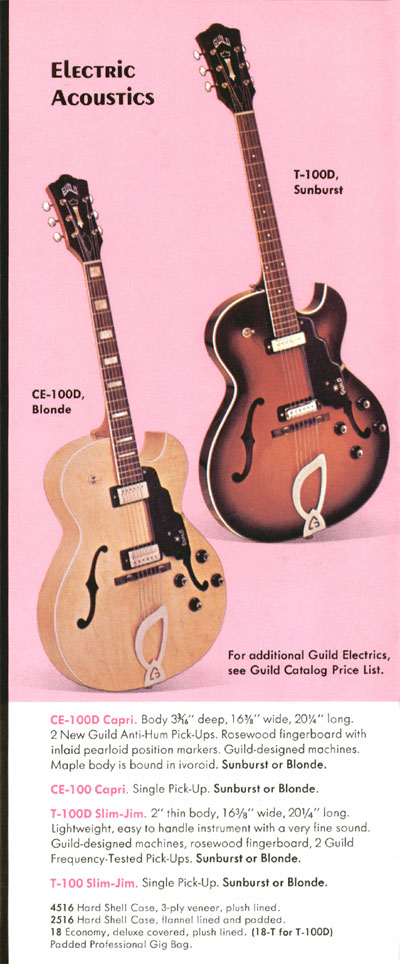 1970 Guild catalogue page 5 - CE-100D Capri and T-100D Slim Jim