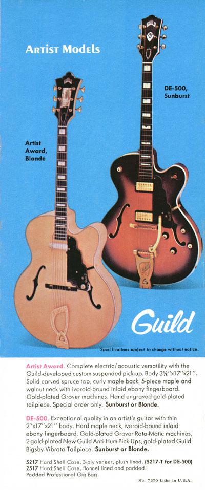 1970 Guild catalogue page 6 - Guild Artist Award and DE-500