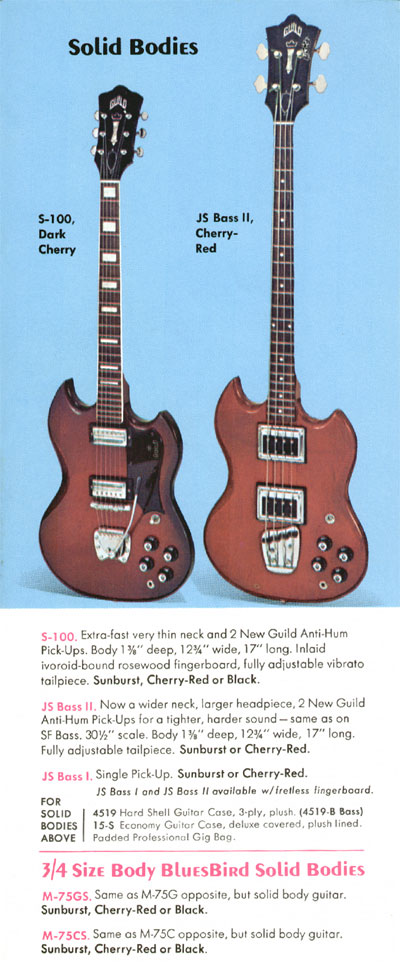 1970 Guild catalogue page 7 - S-100, JS Bass I, JS Bass II, M-75CS and M-75GS