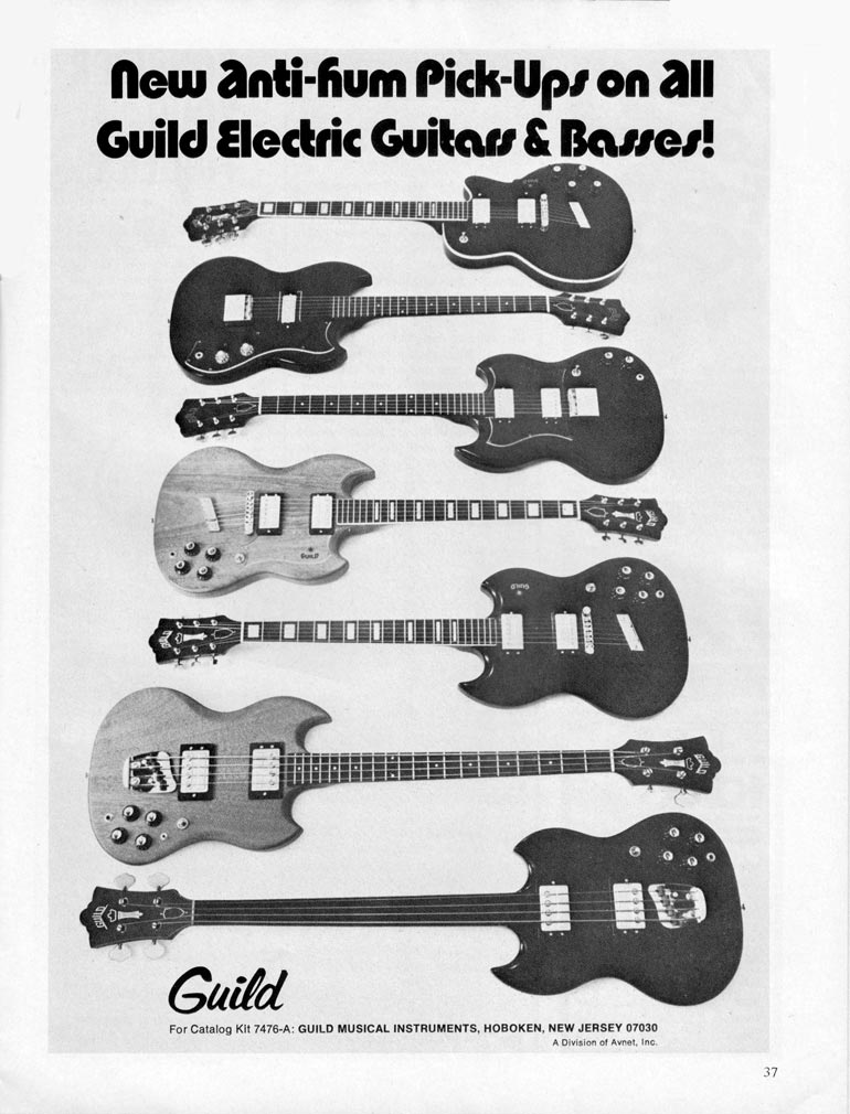 Guild advertisement (1971) New Anti-Hum Pick-Ups on All Guild Guitars and Basses
