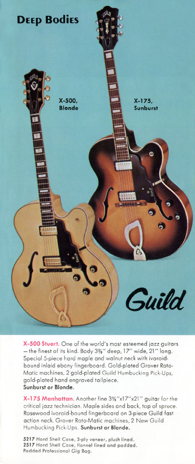 1971 Guild catalogue page 5 - X-175 Manhattan and X-500 Stuart