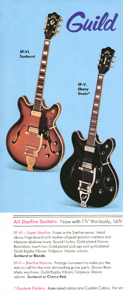 1971 Guild catalogue page 2 - SF-V (Starfire Deluxe) and SF-VI (Super Starfire)