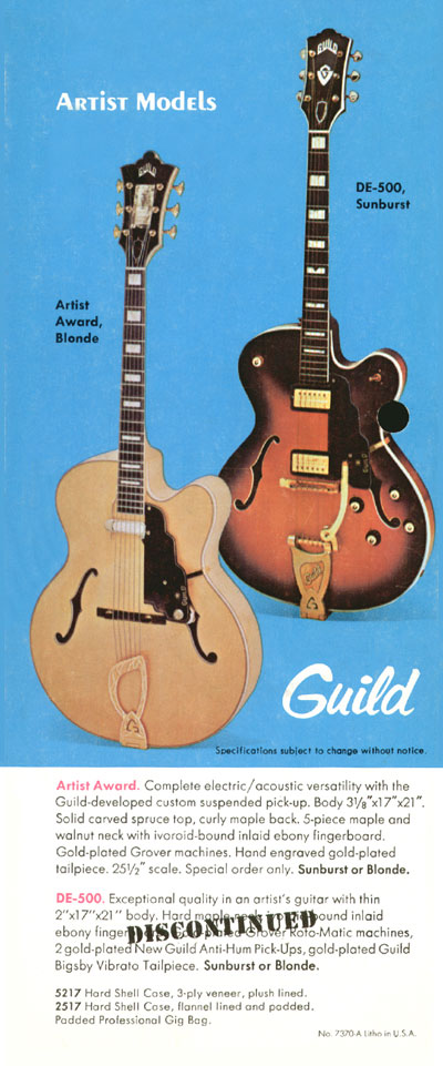 1971 Guild catalogue page 6 - Guild Artist Award and DE-500