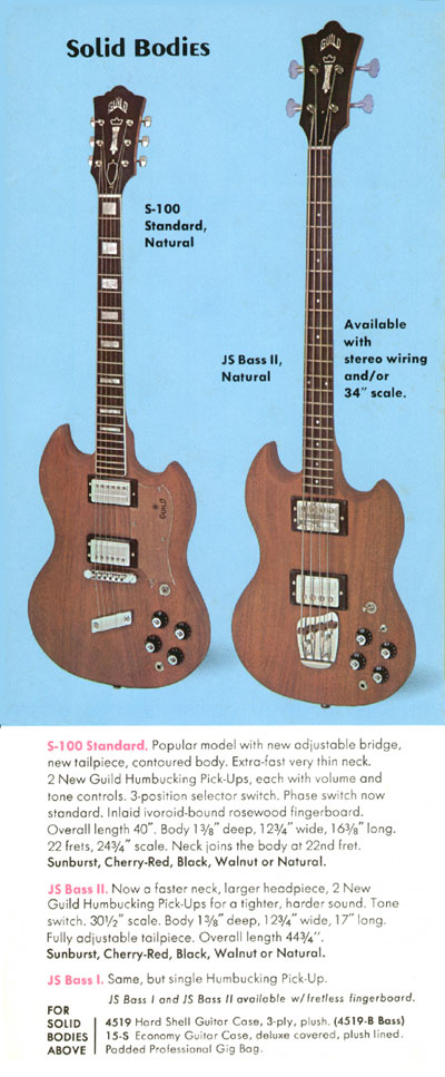 1971 Guild catalogue page 7 - S-100, JS Bass I, JS Bass II