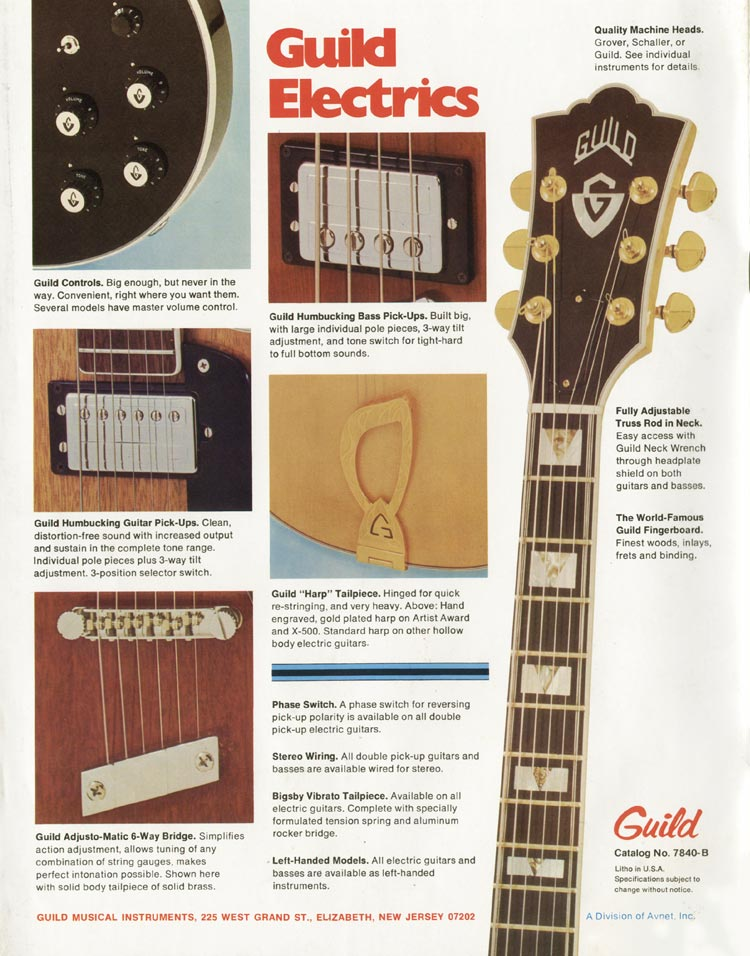 1975 Guild catalogue page 12