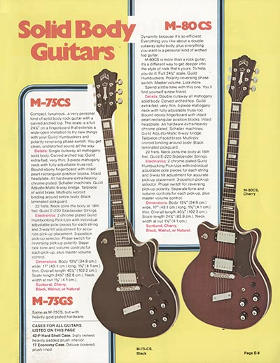 1975 Guild catalogue page 9