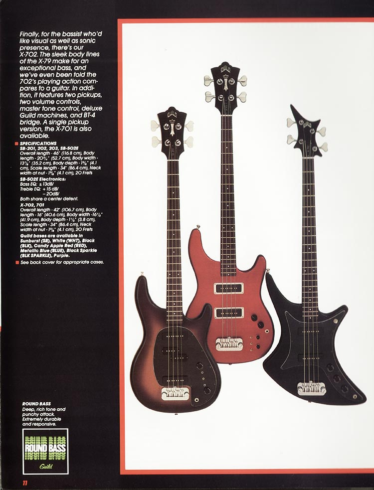 1982 Guild catalogue page 13 - the SB-203 SB-502E and X-702 bass guitars