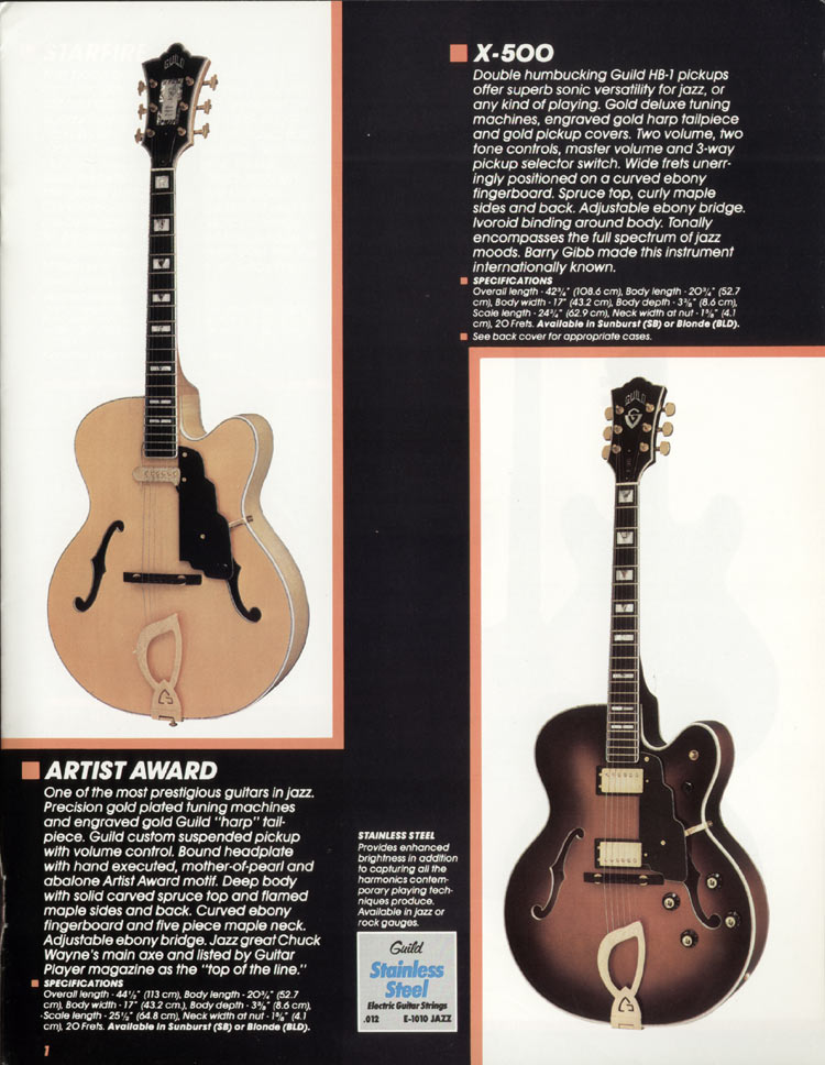 1982 Guild catalogue page 3 - Artist Award and X-500