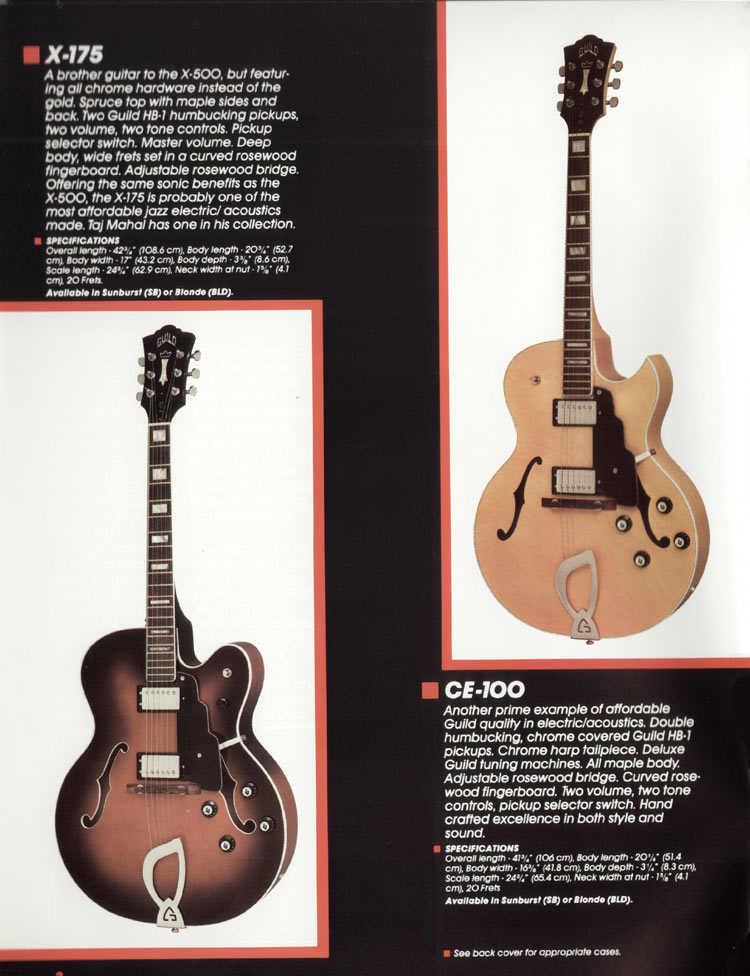 1982 Guild catalogue page 4 - X-175 and CE-100