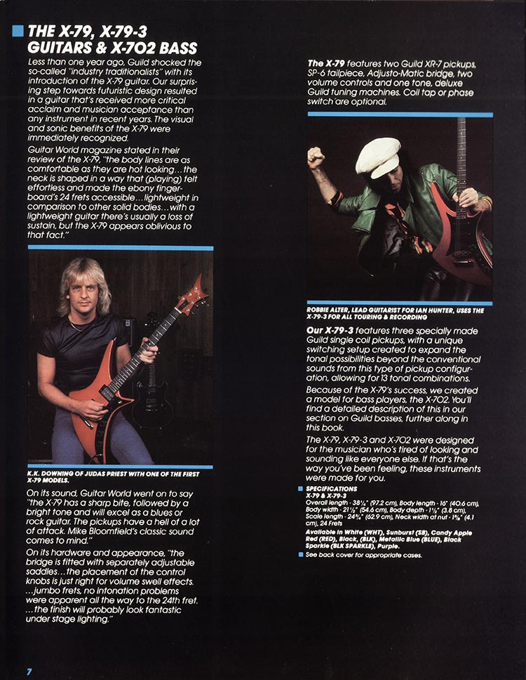 1982 Guild catalogue page 9 - X-79, X-79-3 and X-702 Bass