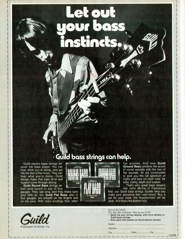 Guild advertisement (1978) Let out your bass instincts