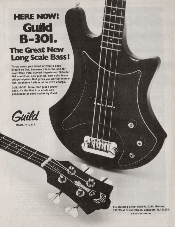 Guild advertisement (1977) Here Now! Guild B-301