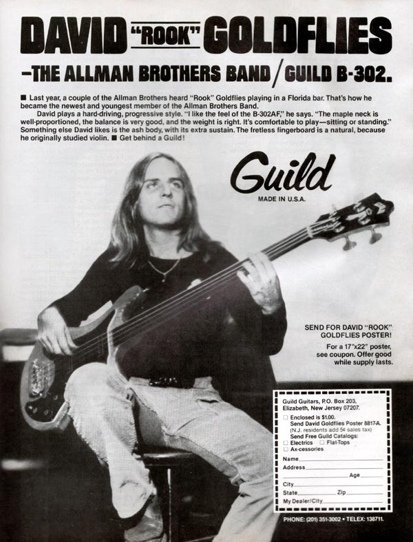 "Guild advertisement (1980) David ""Rook"" Goldflies - the Allman Brothers Band / Guild B-302"
