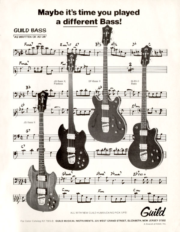 Guild advertisement (1972) Maybe its time you played a different bass!
