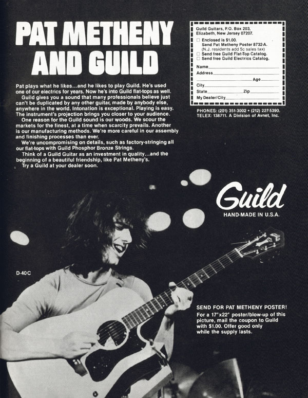 Guild advertisement (1979) Pat Metheny and Guild