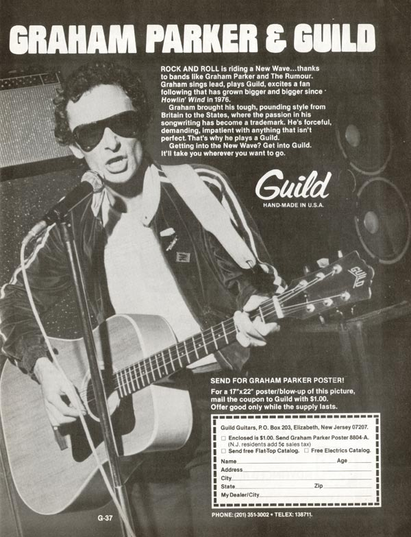 Guild advertisement (1980) Graham Parker and Guild