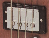 Guild bass humbucker circa 1975 - The earliest models were fitted with Hagstrom single coil Bi-sonic pickups, but by 1971 these had been replaced by Guilds own pickups as shown