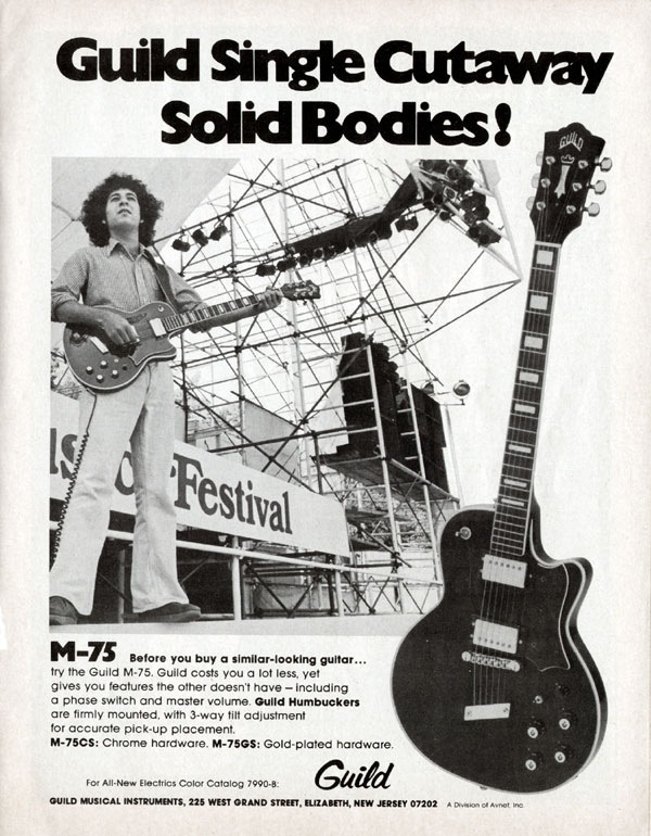 Guild advertisement (1975) Guild single cutaway solid bodies