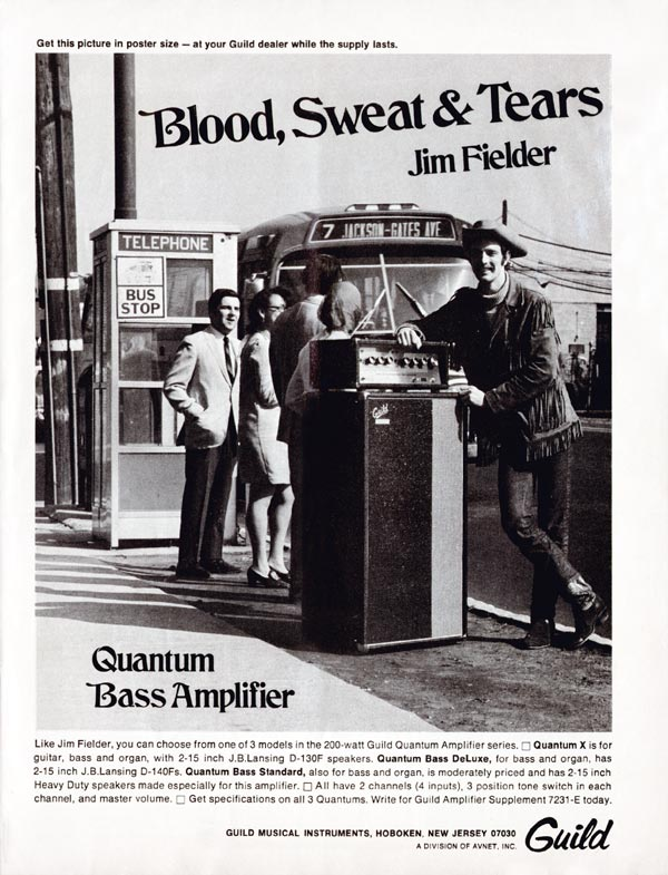Guild advertisement (1969) Blood, Sweat & Tears. Jim Fielder