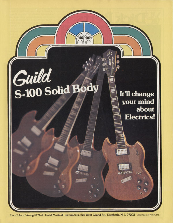 Guild advertisement (1976) Guild S-100 solidy body