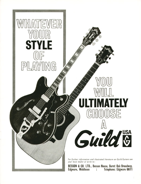 Guild advertisement (1965) Whatever Your Style of Playing You Will Ultimately Choose a Guild