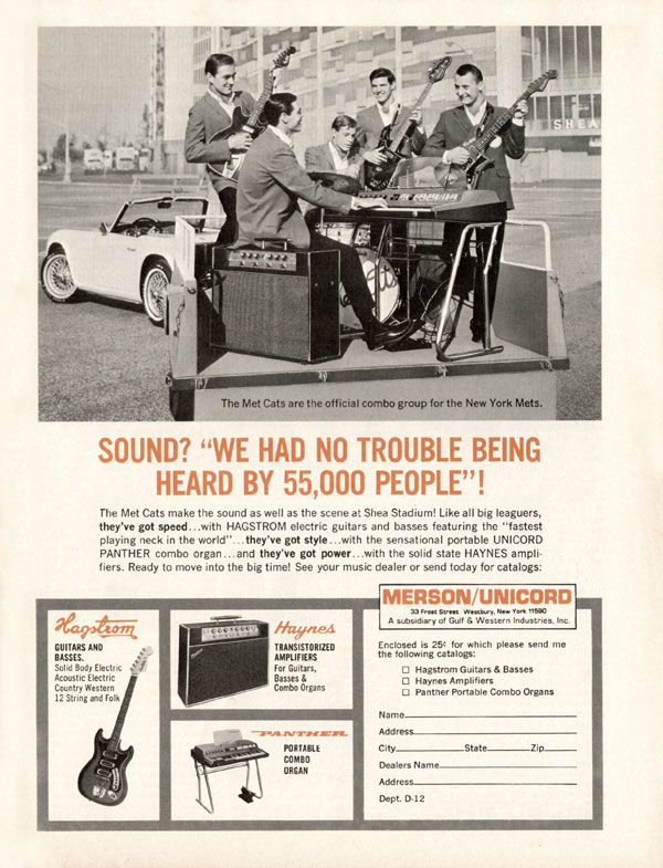 "Hagstrom advertisement (1967) Sound? ""We Had No Trouble Being Heard By 55,000 People!"""