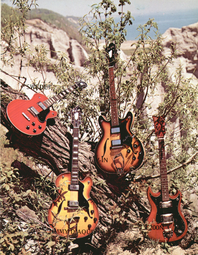 1972 Hagstrom guitar catalogue page 3 - Hagstrom Swede, V-1N, Jimmy D