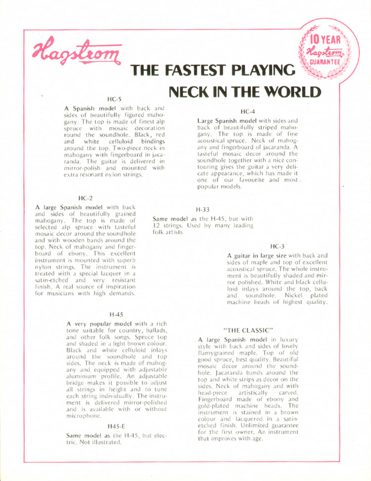 1972 Hagstrom guitar catalogue page 6 - HC2, HC3, HC4, HC5, H33, H45, H45-E and The Classic acoustic guitars
