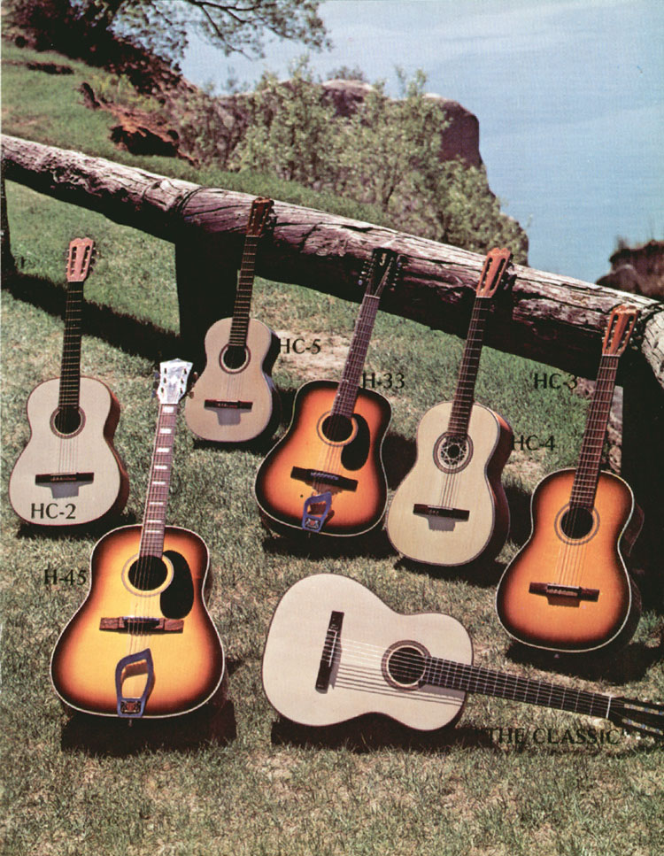 1972 Hagstrom guitar catalogue page 7 - HC2, HC3, HC4, HC5, H33, H45, H45-E and The Classic acoustic guitars