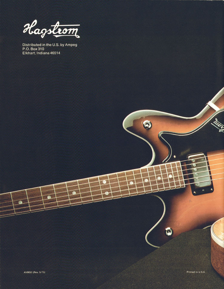 1975 Hagstrom guitar catalogue back cover