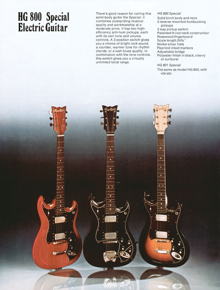 1975 Hagstrom guitar catalogue page 4 - Left hand side of a double page spread - details of the Hagstrom HG800 and HG801 guitars