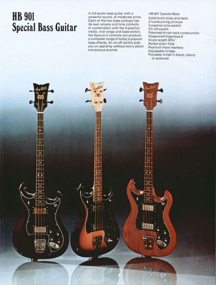 1975 Hagstrom guitar catalogue page 5 - details of the Hagstrom HB901 special bass