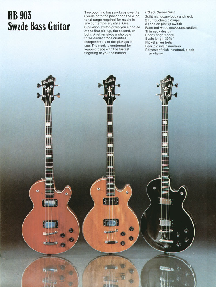 1975 Hagstrom guitar catalogue page 7 - HB903 Swede bass