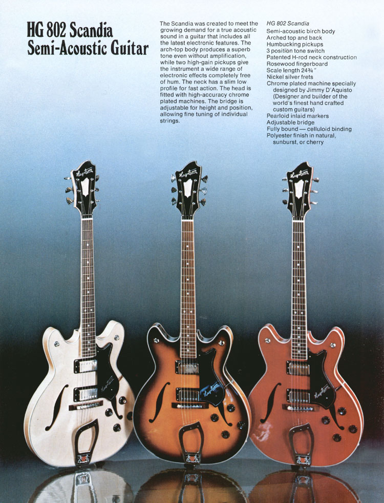 1975 Hagstrom guitar catalogue page 8 - Viking / Scandia