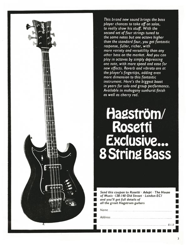 Hagstrom advertisement (1969) Hagstrom/Rosetti exclusive 8-string bass